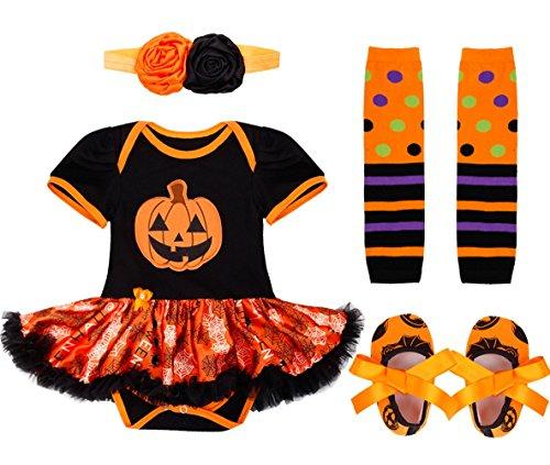 IEFIEL Déguisement Halloween Bébé Fille Ensembles (Barboteuse + Bandeau + Jambières + Chaussures) 0-12 Mois Noir & Orange 9-12 Mois