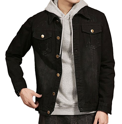 Plaid&Plain Men's Black Jean Jacket Slim Fit Distressed Denim Jacket Black L