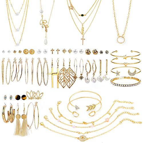 38 PCS Gold Jewelry Set with 4 PCS Necklace,10 PCS Bracelet,24 PCS Layered Ball Dangle Hoop Stud Earrings for Women Girls Jewelry Fashion and Valentine Birthday Party Gift