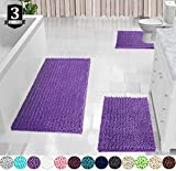 Yimobra 3 Piece Bath Mat Set, Extra Large Shaggy Chenille Bathroom...