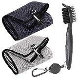 Favritt 3 Pack Golf Towel Clean Set| Microfiber Waffle Pattern Tri-fold Golf Towel | Brush Tool Kit with Club Groove Cleaner |Golf Accessories for Men, Women (Black/Gray Towel+ Gray Brush)