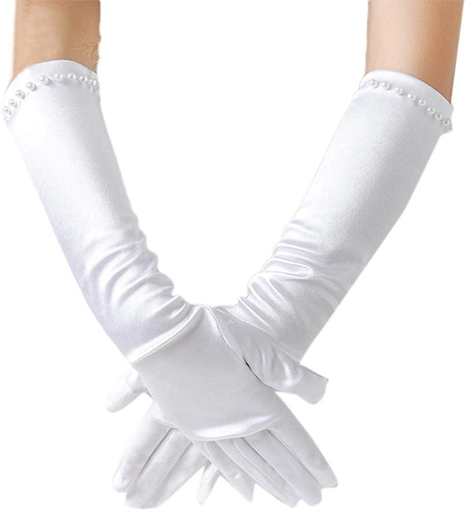 LeJulyeekay Satin Flower Girl Gloves White Princess Communion Gloves for Wedding