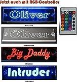 Schmalz Werbeservice Trucker LKW Namensschild Größe 30x10 cm mit RGB Controller 22 Funktionen - LED Acryl Leuchtschild 12V oder 24V - 5V USB-Anschluss