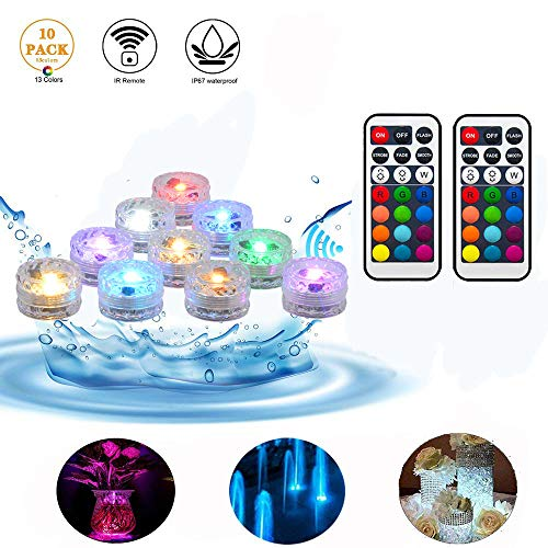 ANTOPY Submersible LED Lights Remote Control Vase Underwater Tea Light Waterproof Mutlicolor Changing Battery Operated for Hot Tub Swimming Pool Aquarium Fountain Pond Decoration(Pack of 10)