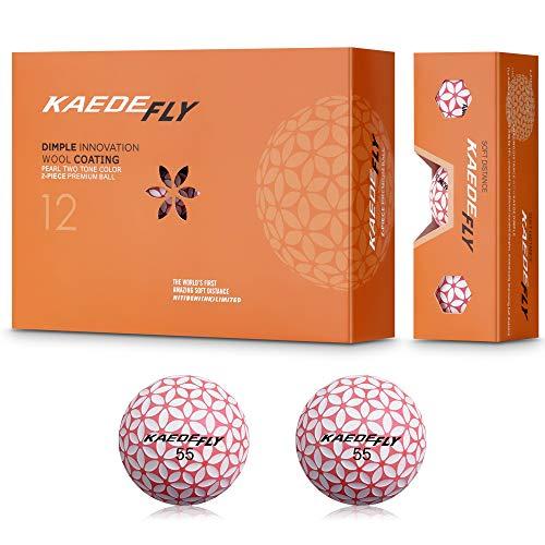 KAEDE(カエデ) FLY ゴルフボール ディスタンス系 ピンク・ホワイト色 1ダース(12個入り)