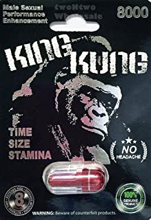 KING KUNG RED 8000 ALL NATURAL MALE ENHANCEMENT PILLS - 3 PACK by FunThingsForMe
