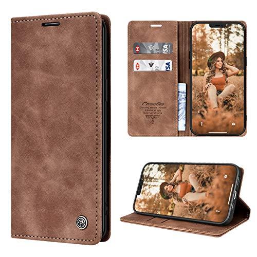 RuiPower Funda para iPhone 12 con Tapa, Funda para iPhone 12 Pro Libro de Cuero PU Premium Magnético Tarjetero y Suporte Silicona Carcasa para iPhone 12/ para iPhone 12 Pro (6.1'') - Marrón