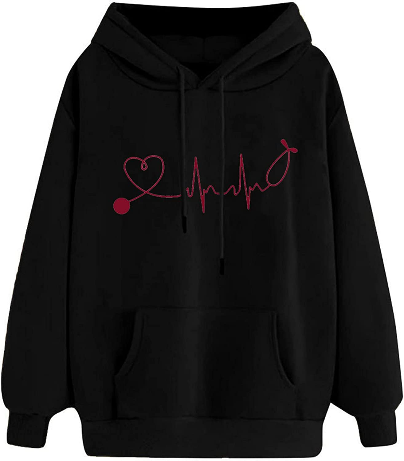 Graphic Hoodies for Women Fashion Printed Hooded Tops Casual Long Sleeve Sweatshirts Oversized Autumn Winter Pullover