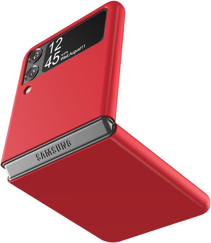 Cresee Case for Samsung Galaxy Z Flip 3 5G 2021, Slim Fit Matte PC Cover Phone Case for Galaxy Z Flip3 - Red