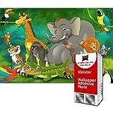 GREAT ART Photo Wallpaper Jungle Animal Decoration 132.3x93.7in / 336x238cm – Kid's Room Nursery Rain Forest Elefant Rhino Monkey Parrot Lion Mural – 8 Pieces Includes Paste