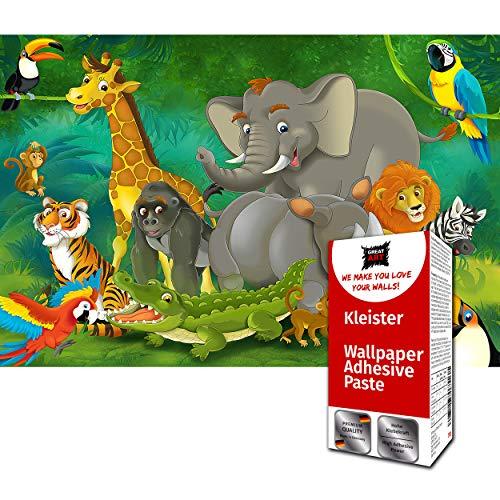 GREAT ART Fototapete Comic Dschungel Tiere 336 x 238 cm – Kinderzimmer Mädchen Jungen Regenwald Abenteuer Bild Wandtapete Dekoration Wandbild – 8 Teile Tapete inklusive Kleister