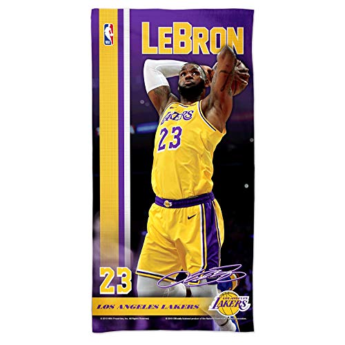 """WinCraft NBA Los Angeles Lakers Lebron James Los Angeles Lakers Lebron James Spectra Beach Towel 30"""" x 60"""", Multi Color, na"""