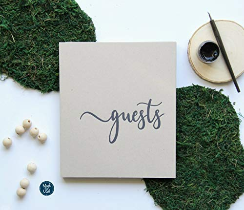 Rustic Wedding Guest Book for Rustic Wedding Decor. Flat-Lay, 130 pgs 8x7 Softcover. Wedding Guestbook with Blank Pages, Rustic Guest Book for Wedding(Sand)