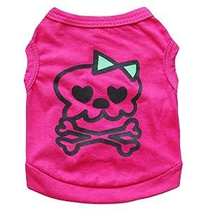 JJ Store Chemise pour chien mignon d'été pour animal domestique Chat Chiot Nœud Tête de mort T-shirt Doggy Gilet de vêtements en coton Chemise Rose