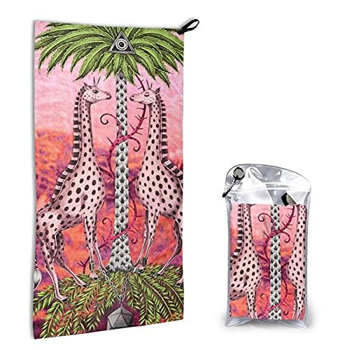 Toalla de Playa,80X160Cm Manta de Playa de Microfibra para Niñas Mujeres Absorción de Agua Regalo de Playa de Vacaciones de Viaje Baño Piscina Natación,Pañuelo Jirafa Rosa