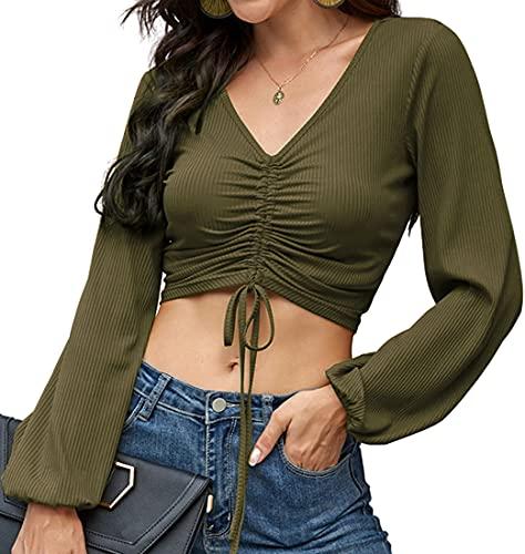 OLIPHEE Mujer Camiseta De Cintura Corta con Cordón Camisa Elegante con Manga De Linterna Verde-XL