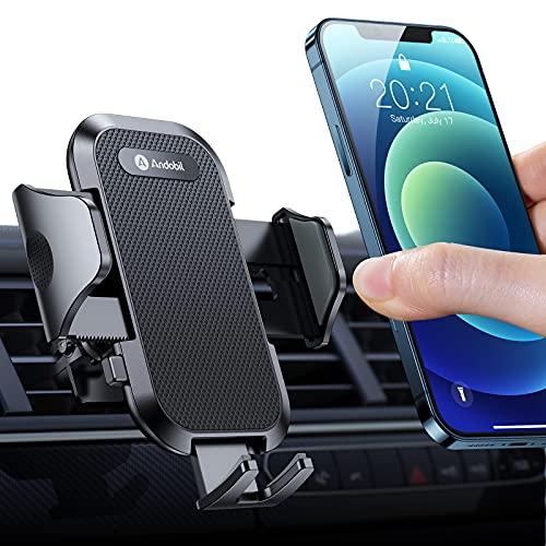 andobil Handyhalterung Auto Lüftung [Stabil und Never Fall] Patent Design mit 2 Lüftungsclips [Flexible und Freie Aussicht] 360° Drehbar KFZ Handyhalterung für Alle Smartphones, z.B iPhone Samsung Huawei
