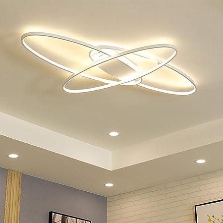 Plafonnier LED moderne ovale à intensité variable 3000-6000 K avec télécommande Moderne Weiss Chambre Salon Plafonnier Blanc Ellipse Plafon Light Cuisine Salle à Manger Bureau Escalier Lustre Blanc