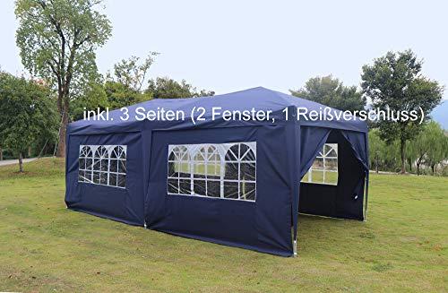 Kronenburg Faltpavillon wasserdicht Pavillon mit 3 Seitenteilen, Gartenzelt, 3x6 m - mit UV Schutz 50+, Blau