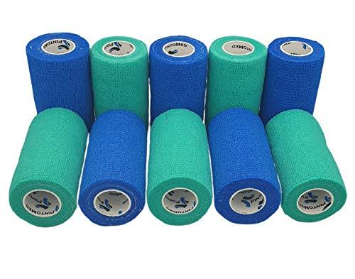 Keine Mehr Arme Haftung.–Blau & Grün kohäsive Bandage gedehnt 10Rollen x 10cm x 4,5m selbstklebend flexibel, professionelle Qualität, erste Hilfe Sport Wrap Verbände–10Stück