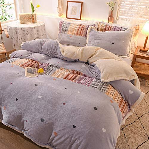 juego de ropa de cama 160x200-Otoño e invierno juego de cuatro piezas de visón dorado grueso juego de regalo de cuatro piezas de terciopelo de cordero de franela cálida de doble cara-GG_Cama de 1,8 m
