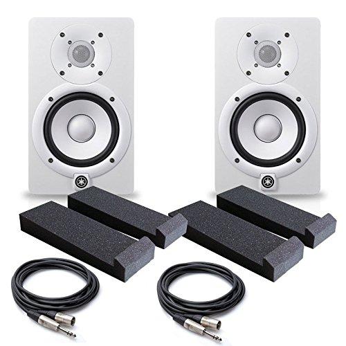 Best Buy! Yamaha HS5 W 5-Inch Powered Studio Monitor, White (Pair) - Free Monitor PAD (2) XLR to 1/4...