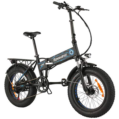 """Speedrid Folding Electric Bike Fat Tire Electric Snow Bike 20"""" 4.0, 500W Powerful Motor, 36V 12.5Ah Removable Battery and Professional 6 Speed (Blue)"""