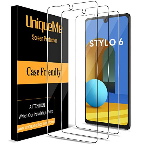 [3 Pack] UniqueMe Screen Protector for LG Stylo 6 Tempered Glass, [Case Friendly] 9H Hardness High Definition Bubble Free - Clear