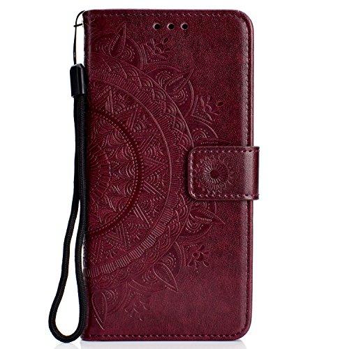 Lomogo OnePlus 6 Hülle Leder, Schutzhülle Brieftasche mit Kartenfach Klappbar Magnetverschluss Stoßfest Kratzfest Handyhülle Case für OnePlus6 - LOHHA11088 Braun