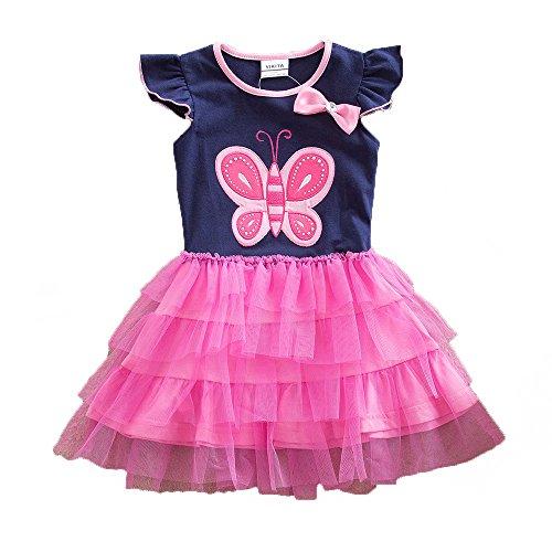 VIKITA VIKITA Mädchen Kleider Langarm Kleid Blume Baumwolle Herbst Kinderkleidung SH4555 5T