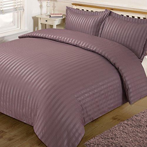 Dreamscene Satin Stripe Duvet Cover with Pillow Cases Quilt Bedding Set, Mauve, Double