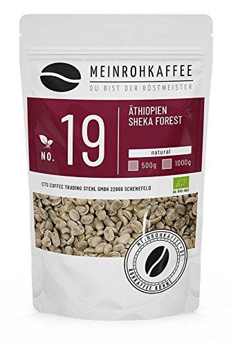 Rohkaffee - Äthiopien Sheka Forest (grüne Kaffeebohnen) - kräftiges, würziges Aroma und einzigartige Fülle - 500g