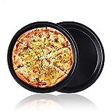 Pizza Baking Pan Pizza Tray - Zeakone Carbon Steel Pizza Pan Round Pizza Baking Sheet Oven Tray,...