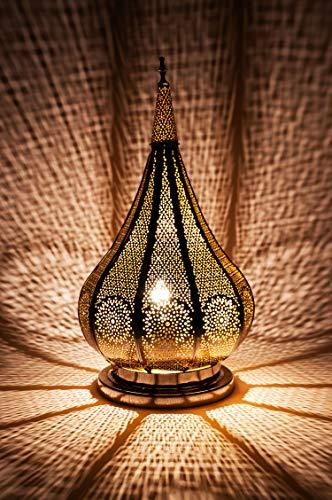Lámpara de mesa oriental Kais Plateado 38cm de metal -Marruecos Decorativo para la mesa - muy práctica para una iluminación excelente - transmite una decoración excelente refinada