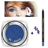 Kit di 1 ombretto in crema metallizzato 10 blu laguna + 1 matita impermeabile blu (2 prodotti)