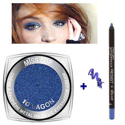 Kit 1 fard a Paupières Crème Métal 10 Bleu Lagon + 1 Crayon Waterproof Bleu (2 Produits)