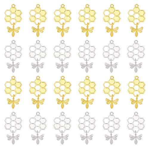 PandaHall 40pcs Honeycomb Bee Charms Pendants Silver Golden Hollow Honeybee Insect Metal Pendant for Necklace Earring Bracelet Making Honey Jars Decoration