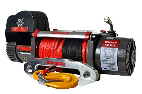 Warrior Winch 95HSA12 Elektrische Seilwinde Warrior Samurai High Speed S9500 4,3 t 12 V Kunststoffseil Aluseilfenster Funkfernbedienung Kabelfernbedienung Batterietrennschalter, Grau-Schwarz