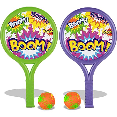 liberty imports kids games Liberty Imports Boom Ball Racquet Sports Toy Play Set - Summer Outdoor Pool Games Kids Active Fun Game with 2 Plastic Rackets and Soft Balls