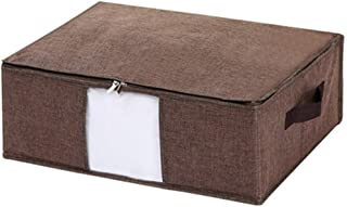 PPCP Bed Bottom Flat Storage Box Fabric Foldable Storage Box (Color : Brown)