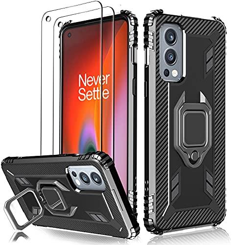 Milomdoi Funda para OnePlus Nord 2 5G, Carcasa Protectora de Silicona, Anillo Giratorio de 360°Reforzado, con 2 Piezas Cristal Templado Protector de Pantalla para OnePlus Nord 2 5G-Negro