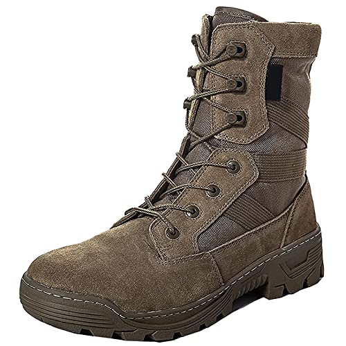 Botas Militares para Hombre Botas TáCticas de Combate con Cordones Exteriores Zapatos de Entrenamiento Ligeros Impermeables Al Aire Libre Botas de Desierto Transpirables Antiarena