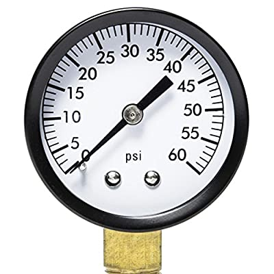 """Aquatix Pro Pool Filter Pressure Gauge - Premium Spa/Pool/Aquarium Water Pressure Gauge, 2"""" Dial, Bottom Mount 1/4"""", Compatible with Most Brands Such as Hayward, Pentair & Jandy"""