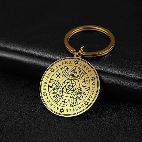 WOJING Llavero Tetragrammaton Amuleto Colgante Llavero Tablero mágico enoquiano ángel mágico Amuleto de Acero Inoxidable Llavero (Color : 1, Size : L)