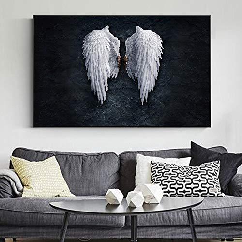 wZUN Carteles y murales de Arte en Lienzo de alas de ángel Blanco sobre Fondo Negro Cuadros de Pintura en Lienzo con alas 60X90 Sin Marco