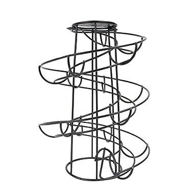 CORNERIA Spiraling Black Metal Freestanding Egg Skelter Dispenser Rack