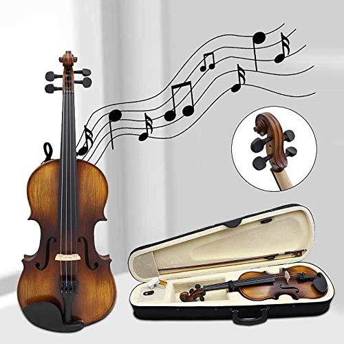 XTQDM Geige 4/4 Hochwertige Fichte Massivholz Vintage Geigenkasten Bogen Kolophonium Set für Anfänger Profispieler Bogen, Holz