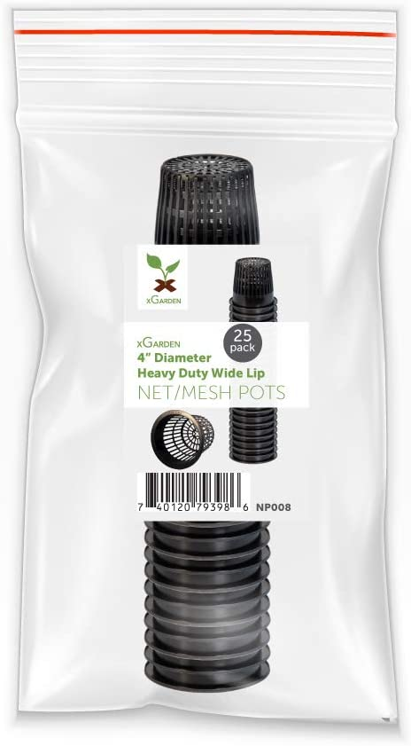 xGarden - Heavy Duty Net Pots - Wide Lip & Slotted Sides - for Hydroponics & Aquaponics - UV Resistant & BPA Free Plastic - Indoor or Outdoor Growing - Black 4