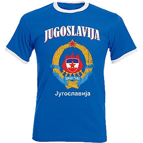 aprom Jugoslawien Ringer T-Shirt Fußball Trikot D04 Royal (XL)