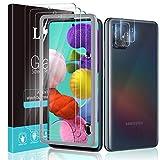 LϟK 5 Pack Protector de Pantalla Compatible con Samsung Galaxy A51 con 3 Pack Cristal Templado y 2 Pack Protector de Lente de Cámara - Sin Burbujas Doble Protección Kit Fácil instalación